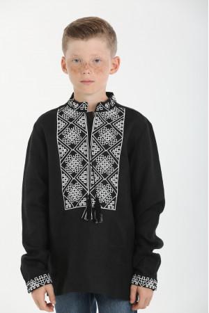 Вишиванка для хлопчика «Отаман» чорна з білим орнаментом