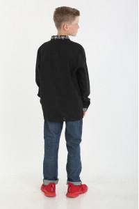 Вышиванка для мальчика «Атаман» черная с белым орнаментом