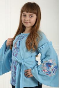 Вишиванка для дівчинки «Світанкові роси» блакитного кольору