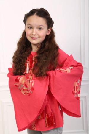 Вишиванка для дівчинки «Світанкові роси» червоного кольору