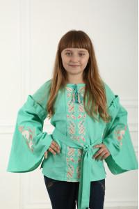Вышиванка для девочки «Рассветные росы» мятного цвета