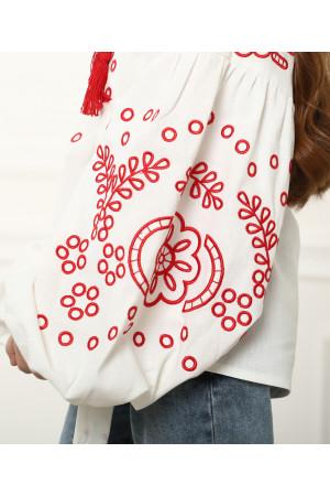 Вышиванка для девочки «Кружевные сны» белого цвета
