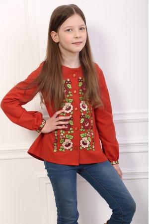 Вишиванка для дівчинки «Шепіт кольору» червоного кольору