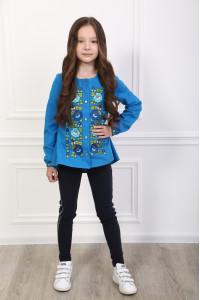 Вишиванка для дівчинки «Шепіт кольору» синього кольору