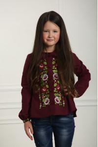 Вышиванка для девочки «Шепот цвета» бордового цвета
