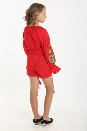 Вышитый комбинезон для девочки «Сказочный» красного цвета