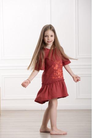 Сукня для дівчинки «Квіткове полум'я» теракотового кольору