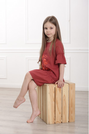 Платье для девочки «Цветочное пламя» терракотового цвета