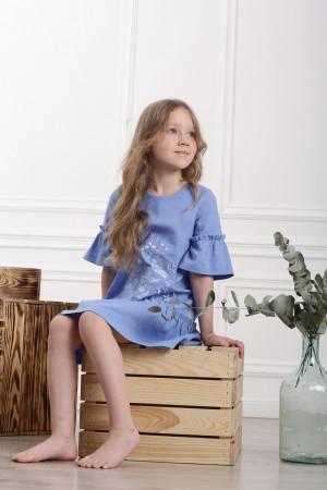 Платье для девочки «Цветочное пламя» голубого цвета