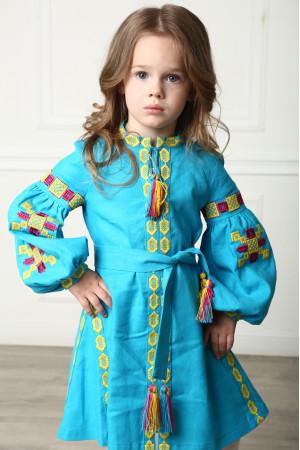 Платье для девочки «Грация Бохо» бирюзового цвета