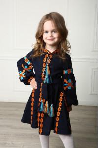 Платье для девочки «Грация Бохо» темно-синего цвета