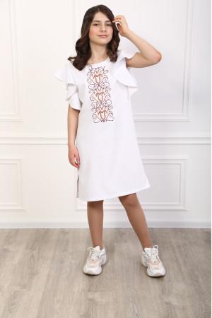 Платье для девочки «Цветущая волна» белого цвета