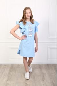 Сукня для дівчинки «Квітуча хвиля» блакитного кольору