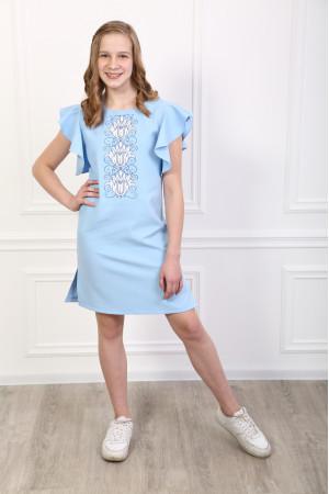 Платье для девочки «Цветущая волна» голубого цвета