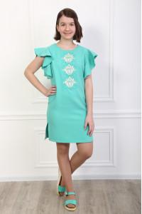 Сукня для дівчинки «Квітуча хвиля» м'ятного кольору