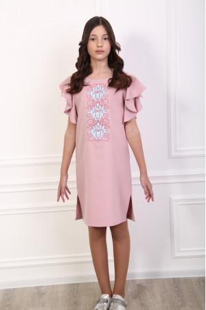 Платье для девочки «Цветущая волна» розового цвета