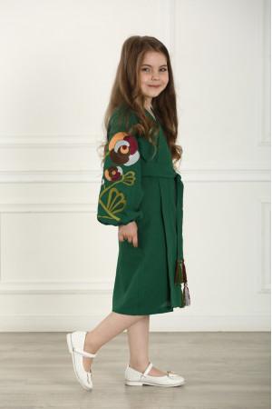 Платье для девочки «Цветочная ветвь» зеленого цвета