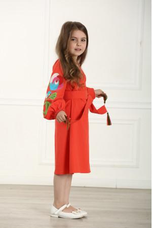 Платье для девочки «Цветочная ветвь» оранжевого цвета