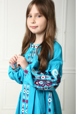 Платье для девочки «Врода Бохо» бирюзового цвета