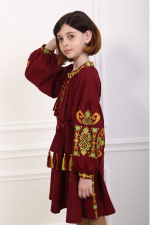 Сукня для дівчинки «Врода Бохо» кольору марсала