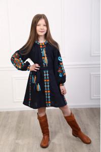 Сукня для дівчинки «Врода Бохо» темно-синього кольору