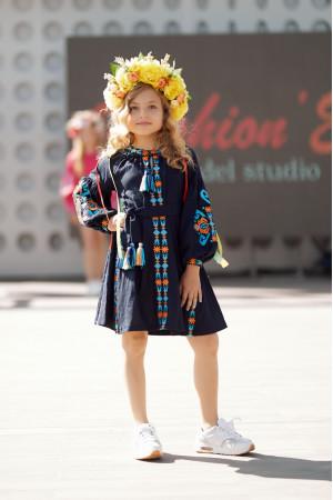 Платье для девочки «Врода Бохо» темно-синего цвета