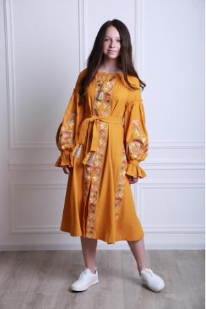Платье для девочки «Рассветные росы» цвета охры