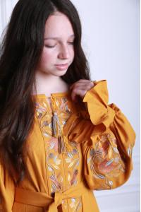 Сукня для дівчинки «Світанкові роси» кольору охри