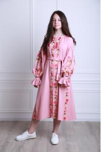 Платье для девочки «Рассветные росы» цвета пудры
