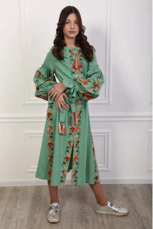 Платье для девочки «Рассветные росы» фисташкового цвета