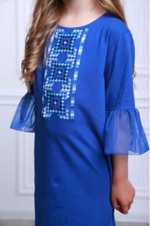 Платье для девочки «Радуга» синего цвета