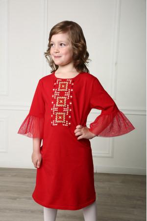 Платье для девочки «Радуга» красного цвета