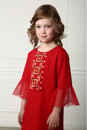 Сукня для дівчинки «Райдуга» червоного кольору