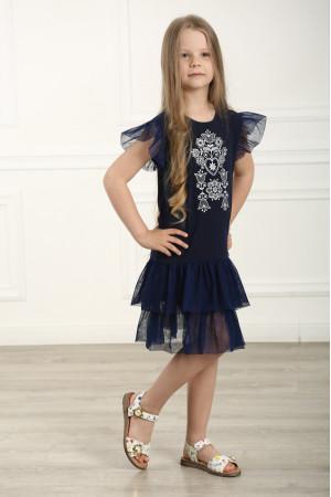 Сукня для дівчинки «Ніжність» темно-синього кольору