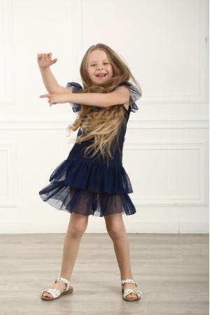 Платье для девочки «Нежность» темно-синего цвета