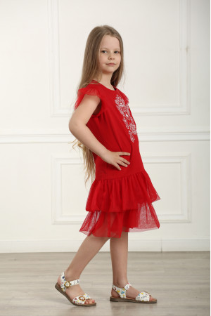 Платье для девочки «Нежность» красного цвета