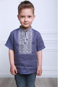 Вышиванка для мальчика «Параллель» цвета темный джинс
