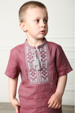 Вишиванка для хлопчика «Паралель» кольору червоний меланж