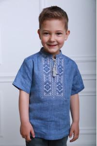 Вышиванка для мальчика «Параллель» цвета джинс