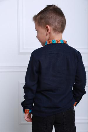 Вышиванка для мальчика «Грация» темно-синего цвета