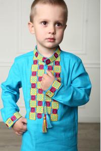 Вышиванка для мальчика «Грация» бирюзового цвета