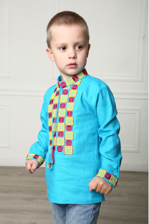 Вишиванка для хлопчика «Грація» бірюзового кольору