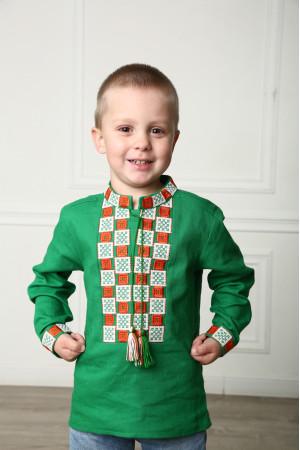 Вышиванка для мальчика «Грация» зеленого цвета