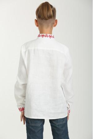 Вишиванка для хлопчика «Отаман» біла з червоним орнаментом