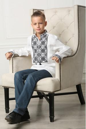 Вишиванка для хлопчика «Отаман» біла з чорним орнаментом