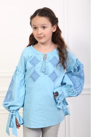 Вышиванка для девочки «Тенёта нежности» голубого цвета
