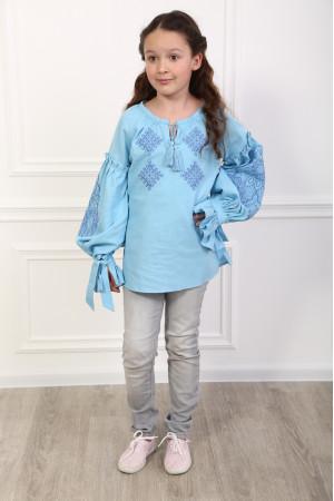 Вишиванка для дівчинки «Тенета ніжності» блакитного кольору