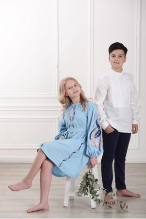 Вышиванка для мальчика «Атаман» белая с белым орнаментом