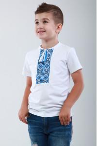 Футболка для мальчика «Лабиринт» белая с синим орнаментом, КР