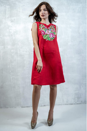 Платье «Звуки лета» красного цвета